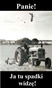 spadający samolot i rolnik mem