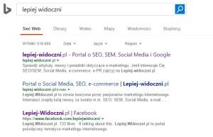 Wyniki wyszukiwania w Bing