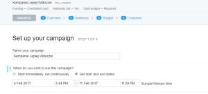 czas trwania kampanii twitter