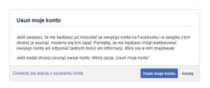 Facebook usuwanie konta - FB