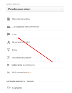 cele konwersji google analytics