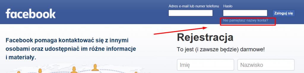resetowanie hasła facebook