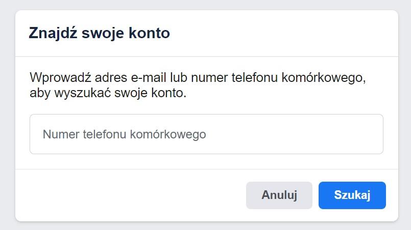 logowanie facebook telefon